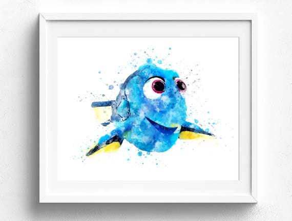 Elegant Disney Wall Art Finding Dory Art Pixar Watercolor Kids Room | Etsy