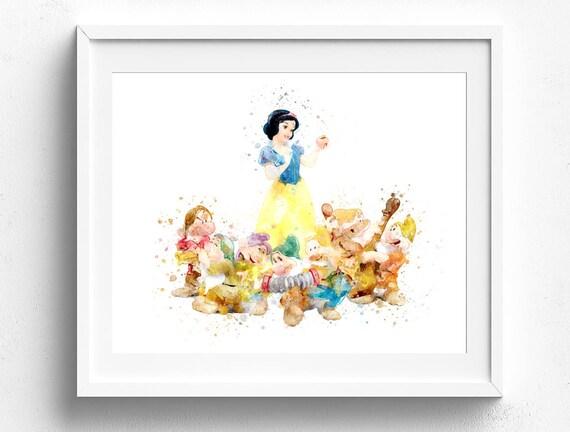 Children Bedroom Art Snow White 7 Dwarfs Disney Wall Art Etsy