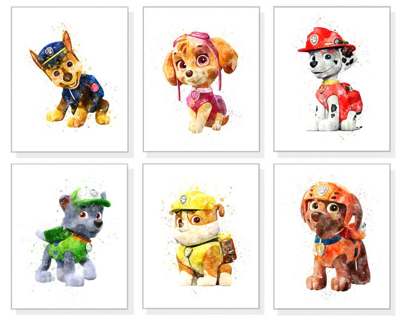 graphic regarding Paw Patrol Printable named Fixed of 6 PAW Patrol print PAW Patrol printable poster Marshall Rubble Chase Skye Nursery decor Birthday decoration Printable down load