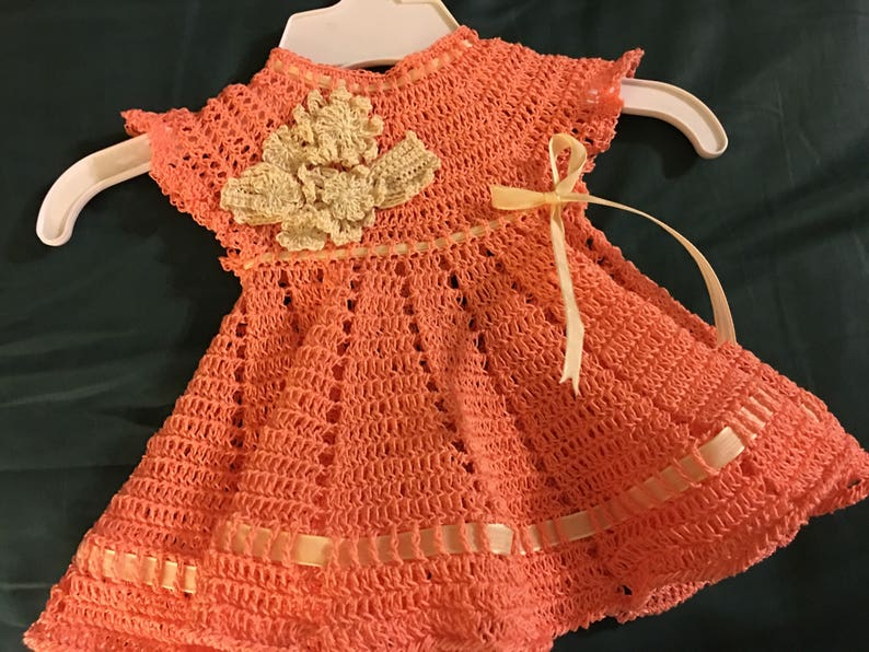 Crochet Baby Dress with Flowers READY FOR SHIPMENT
