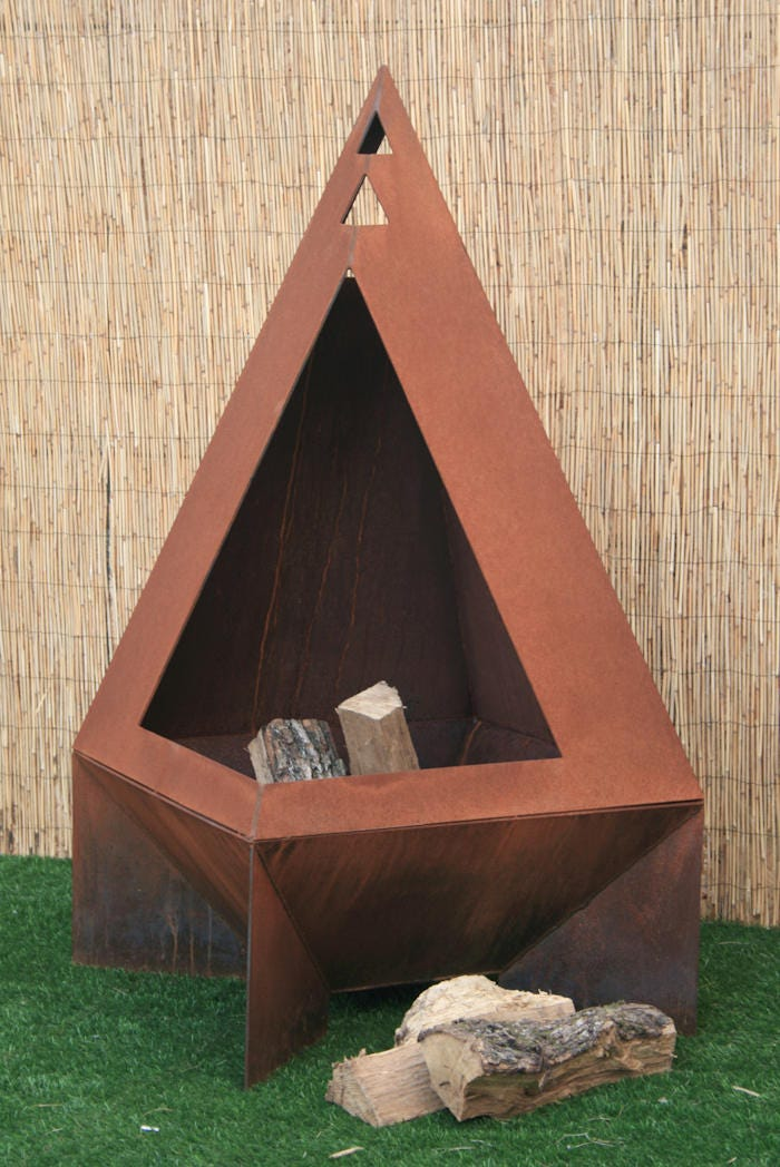 Chiminea Modern Fire Pit Steel Enclosed Fire Pit   Etsy