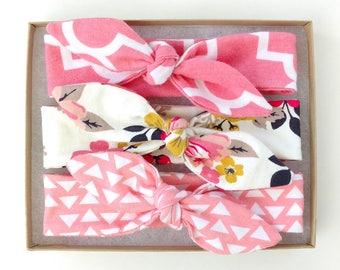 Baby Headband Set // Baby Shower Gift // Baby Girl Gift // Baby Gift // Baby Headbands // Newborn Headband // Floral Baby Headwrap