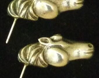 KJL Signed Kenneth Jay Lane Horse Head Equestrian Earrings