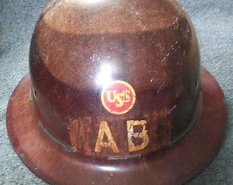 Vintage ,USS ,Hardhat, U.S. Steel ,Bridge Builders, Fiberglass ,Iron Workers, Hard Hat, With Liner