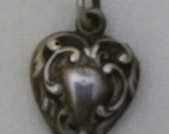 Puffy Heart Charm,Vintage Sterling Silver Repoussed Scrolling Puffy Heart Sweetheart Forget Me Not Heart Charm