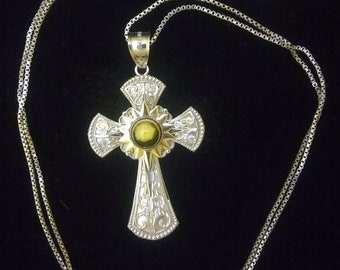 Cross Pendant, Necklace, Vintage Sterling Silver And 10k Gold Bright Cut Love God Cross Charm With Yellow Stone Necklace