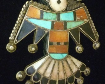 Native, Zuni, Turquoise, Old Pawn, Turquoise, Red Coral, Onyx, Sterling, Warbird, Bola, Arrowhead, Buffalo Tooth, Pendant, Native American