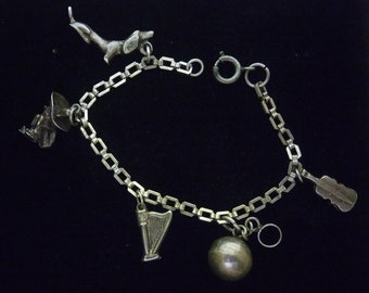 Dog charm, sterling Ball And Chain charm,Multiple Charm Charm Bracelet