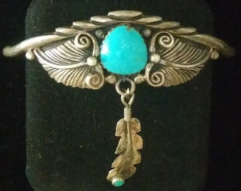 Native American, signed, Sterling Silver, And ,Sleeping Beauty Turquoise ,Cuff Bracelet, With, Dangling Feather