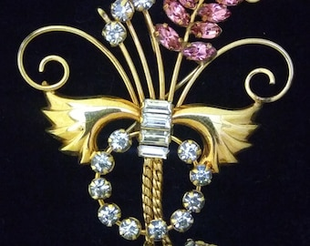 Vintage 1950's Signed De Curtis Gold Filled Rhinestone Brooch Pin Pendant And Earrings Set
