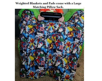Weighted Blankets & Lap Pads -Sensory Therapy, Cotton Flannel Print/Solids/Minky Options, 100% Cotton Bedding, HypoAllergenic Poly Pellets