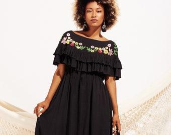 Black mexican dress, Boho maxi dress, Long sequin dress, Summer dress, Beach dress, gift for her