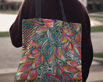 Floral print tote bag, Tote bag with pockets, Book bag, Grocery bag, Gift for her, Cotton tote, Beach bag, Shopping bag, Shoulder bag