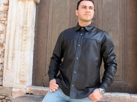 Black Leather Shirt Men's Custom Size Genuine Lambskin Leather Shirt Regular Fit Casual Dress Real Leather Shirt Long Sleeve Snap Shirt