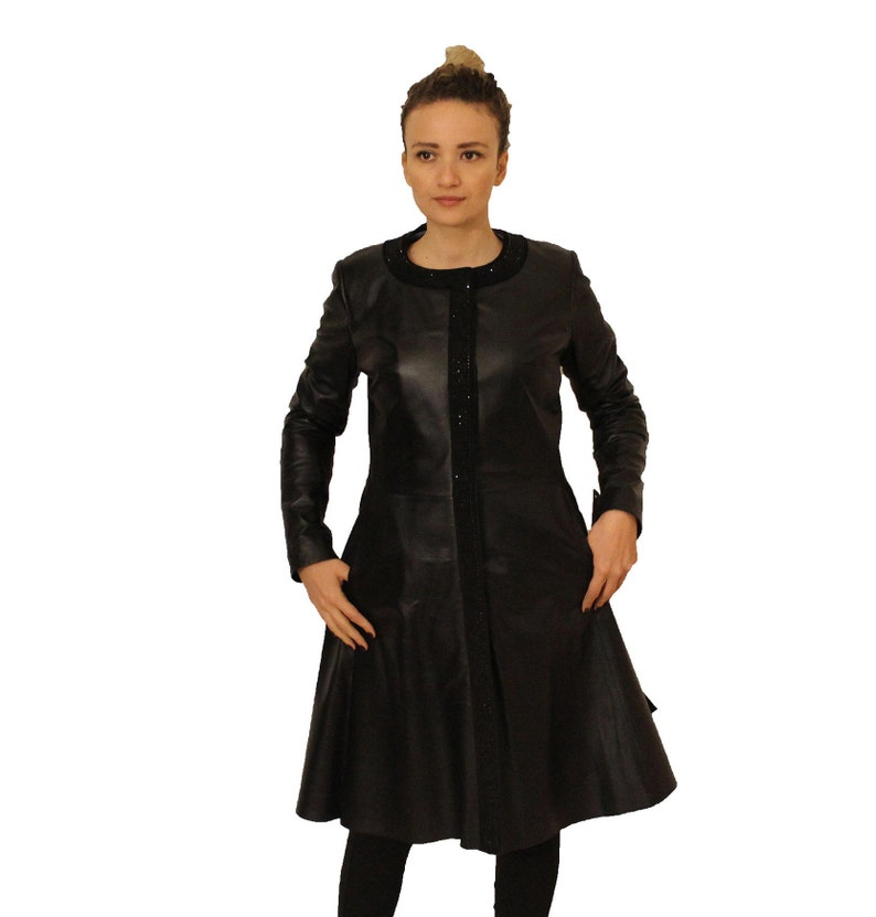 Women's Leather Jacket Black Genuine Lamb Leather Shaped Coat Dress Custom Size Silky Trench Coat Soft Natural Leather Jacket Overcoat