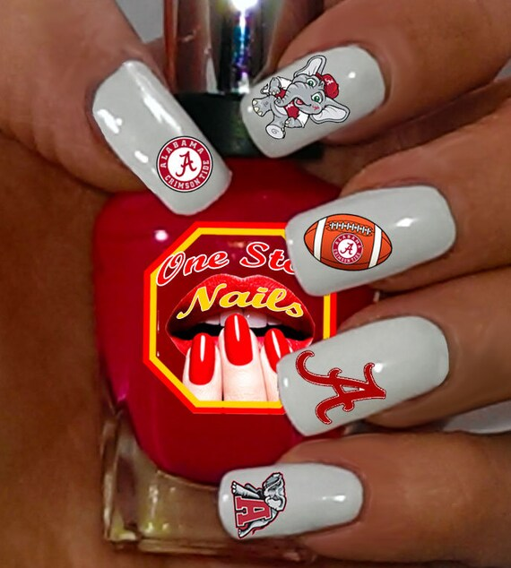 image 0 - Alabama Crimson Nail Art Decals. Clear Waterslide Nail Decals Etsy