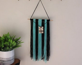 Yarn and Rod Wall Hanging With Embellishments