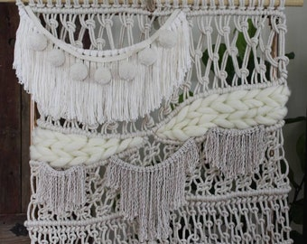 Macrame Wall Hanging with Wool Roving