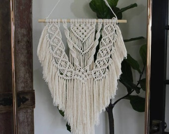 Macrame Wall Hanging with Cotton Fringe