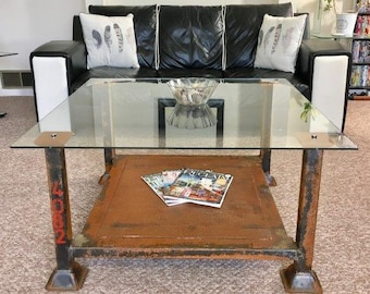 Industrial Metal Stillage and Glass Reversible Coffee Table