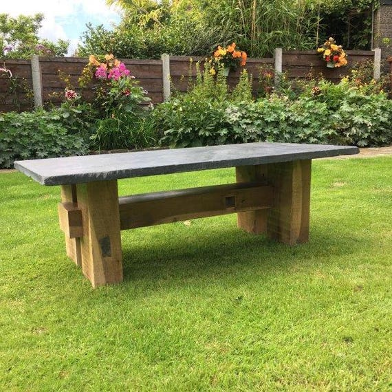 Bespoke Slate And Oak Gardencoffee Table