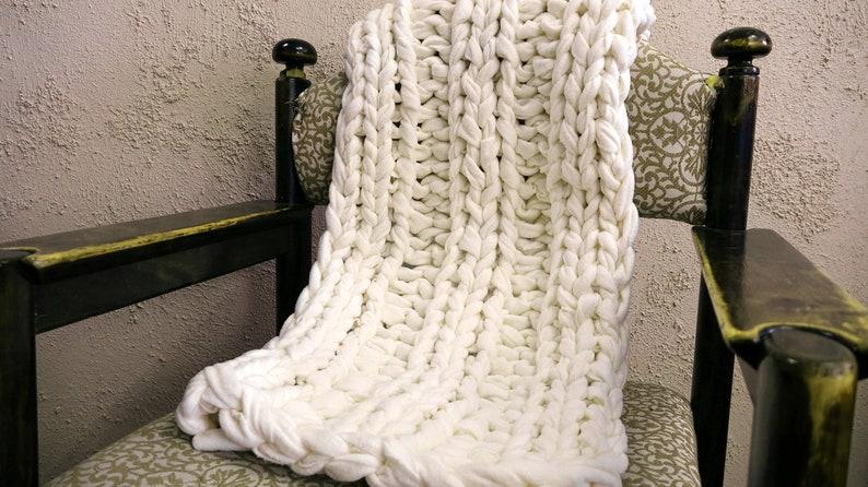 Giant Yarn Blanket Arm Chunky Knit Home Decor Boho Chair
