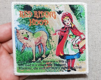 Little Red Riding Hood Fairy Tale Sew On Embroidered Fabric Patch 8.3 x 8.1 cm
