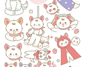 2 Sheet of 'Cute Fennec, Lovly Desert Fox' Diary Stickers Planner Stickers Cutting Stickers Deco Stickers