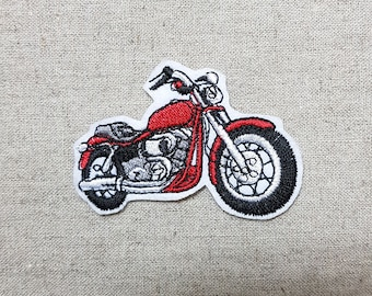 Red Bike Motorcycle Sew on Embroidered Patch 2.6 x 1.8 inch (6.6 x 4.5 cm)