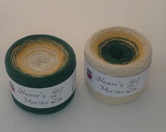 READY TO SHIP,  100% Merino wool superwash yarn cake, gradient colored yarn 3ply