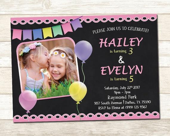 Rodzeństwo Urodzinowe Urodziny Wspólne Zaproszenie Etsy