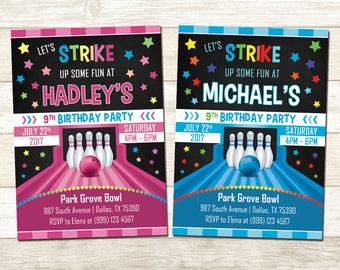 Bowling Birthday Invitation - Bowling Birthday Party - Bowling Birthday Party Invite