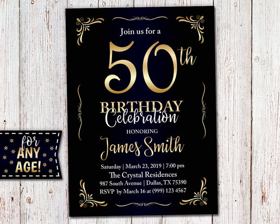 Adult Birthday Invitation 40th Party 50th Elegant Black Blue Gold For Any Age