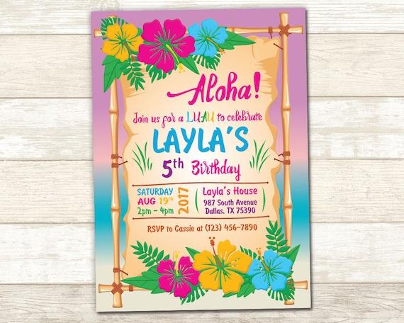 Invitation Luau De Aloha Invite D'anniversaire Anniversaire Fête iuXPTOZlwk