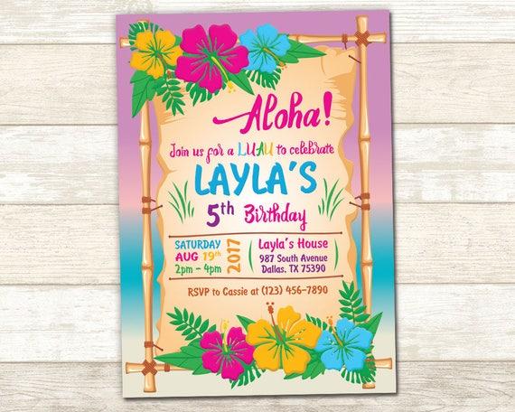 aloha birthday invitation luau birthday invite luau party etsy