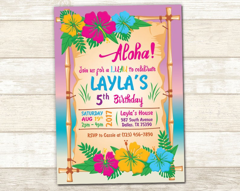 Aloha Birthday Invitation Luau Birthday Invite Luau Party Etsy
