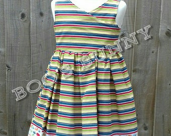 Age 2 years, crossover front, open back truck dress