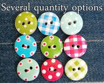 16  23mm Polka Dot Buttons x 16 Assorted Colours  Sewing Embellishments