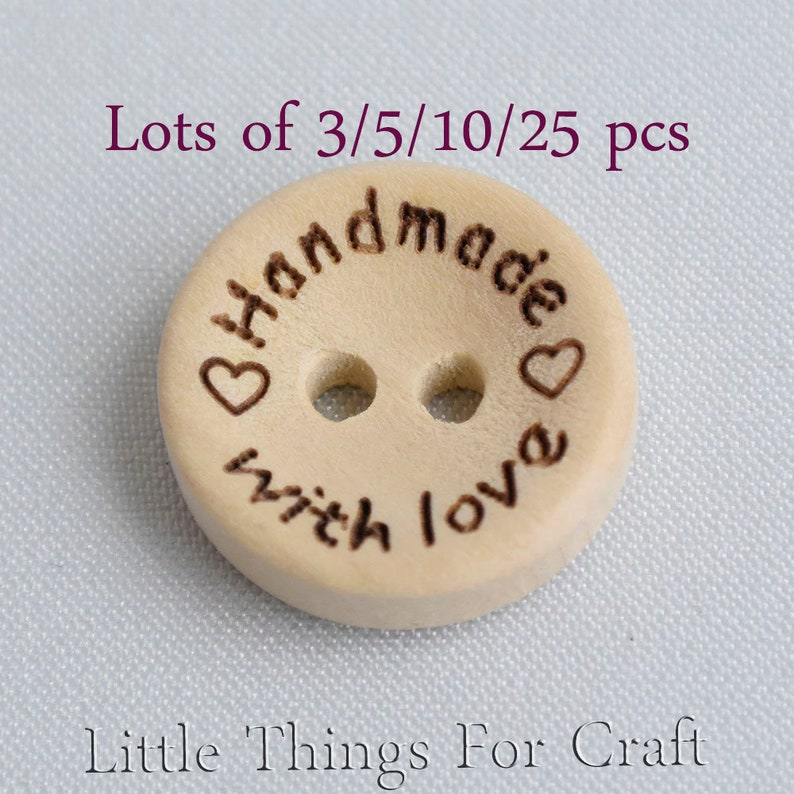 Sew on labels for handmade items Wood color 15 mm wooden bulk buttons Hand  made with Love wooden tags for hand made items 3/5/10/25 TL0043wo