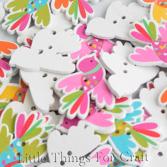 DIY Wooden buttons Flamingo Sewing scrapbooking Handicrafts Decorative 34mm