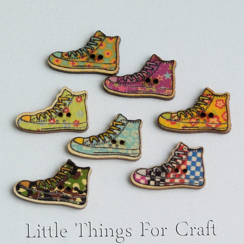 dc465ba7a466 Wooden craft converse shaped kids buttons for sewing Colorful