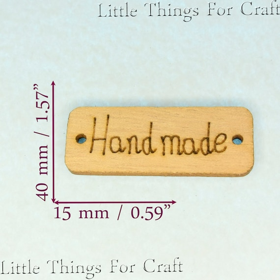 x40 business product Tags Buttons Wooden sew on labels Wood Knitting Crochet