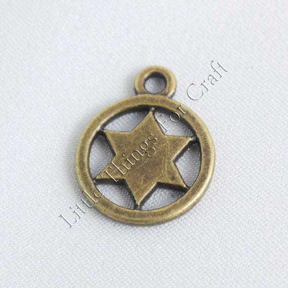 Antique Brass Style Jewish Star Of David Earrings Charm In Etsy