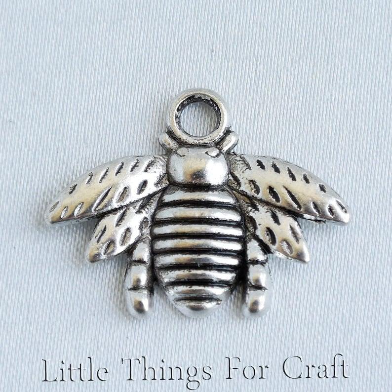 2 Bee Charms Pendants Bumblebee Charms Silver Enamel Charms Honeybee