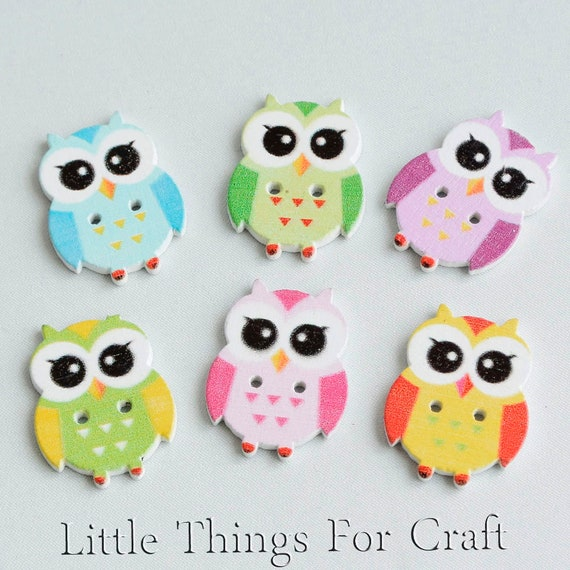 10 CUTE OWL WOOD BUTTONS FOR CARD MAKING SCRAP BOOKING SEWING CRAFT