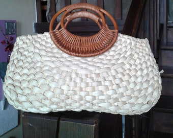 Vintage 50s Style rattan handbag - Vintage handbag straw