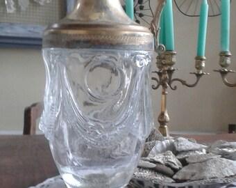 Vase/pitcher/jug cooler glass carved and antiqued brass