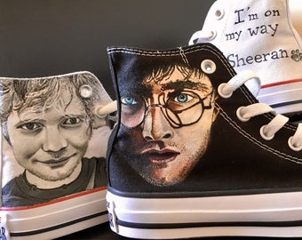 Sneakers, personalized, portrait, hand painted