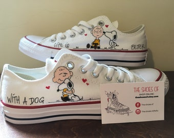 Converse All Star Snoopy sneakers, hand painted, custom Snoopy