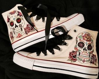 Hand-painted sneakers, Mexican skull, custom
